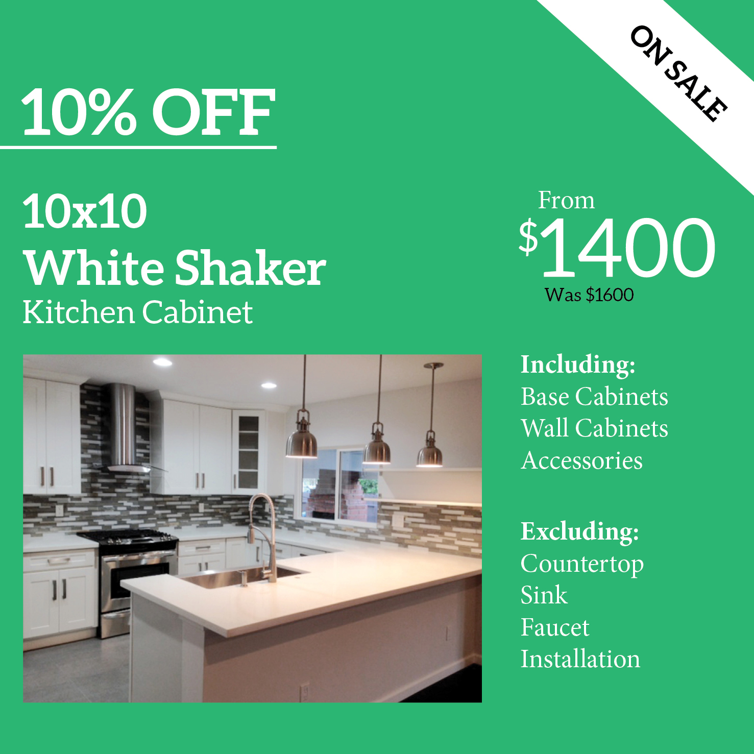 White shaker kitchen cabinet for 10x10 kitchen cabinets cheap