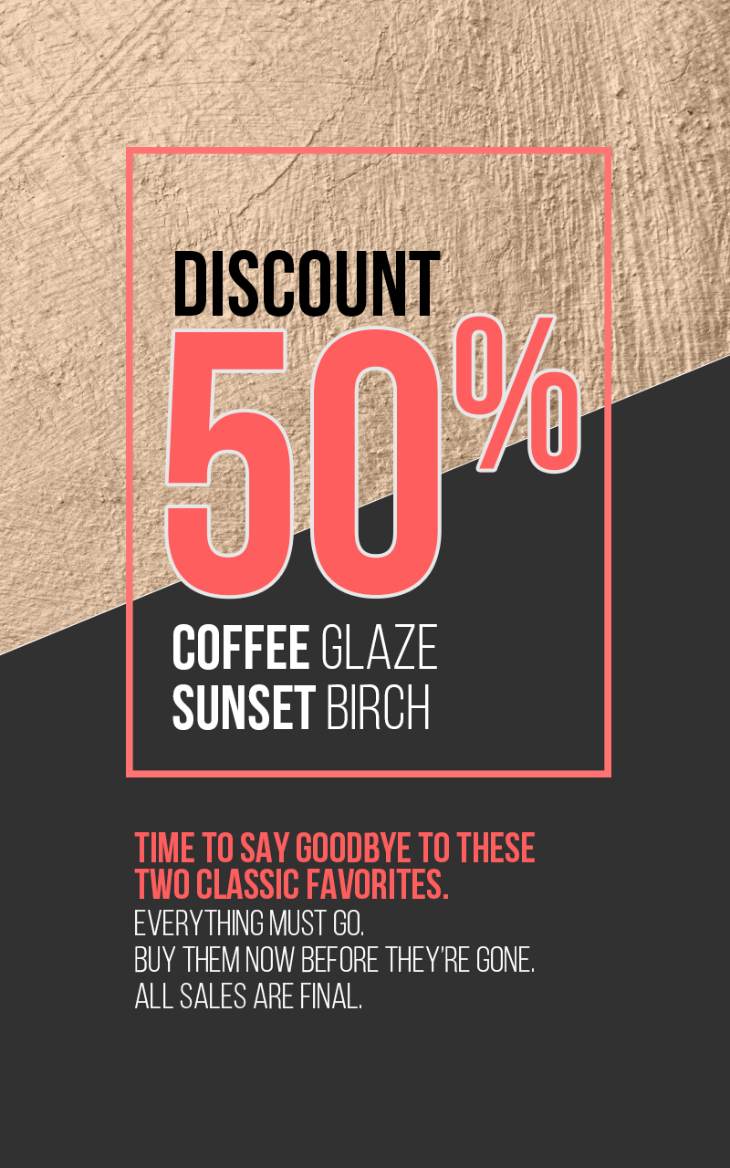 Clearance Sale -Coffee Glaze and Sunset Birch